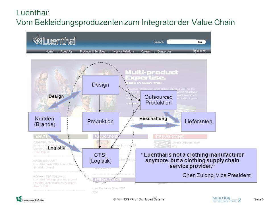 Seite 6 © IWI-HSG / Prof. Dr. Hubert Österle Luenthai: Vom Bekleidungsproduzenten zum Integrator der Value Chain Kunden (Brands) LieferantenProduktion