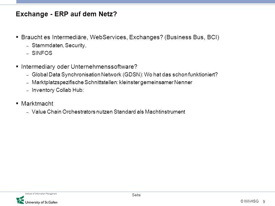 9 © IWI-HSG Seite Exchange - ERP auf dem Netz. Braucht es Intermediäre, WebServices, Exchanges.