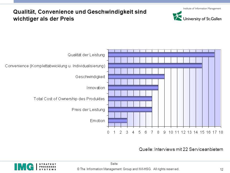 12 © The Information Management Group and IWI-HSG. All rights reserved. Seite Qualität, Convenience und Geschwindigkeit sind wichtiger als der Preis Q