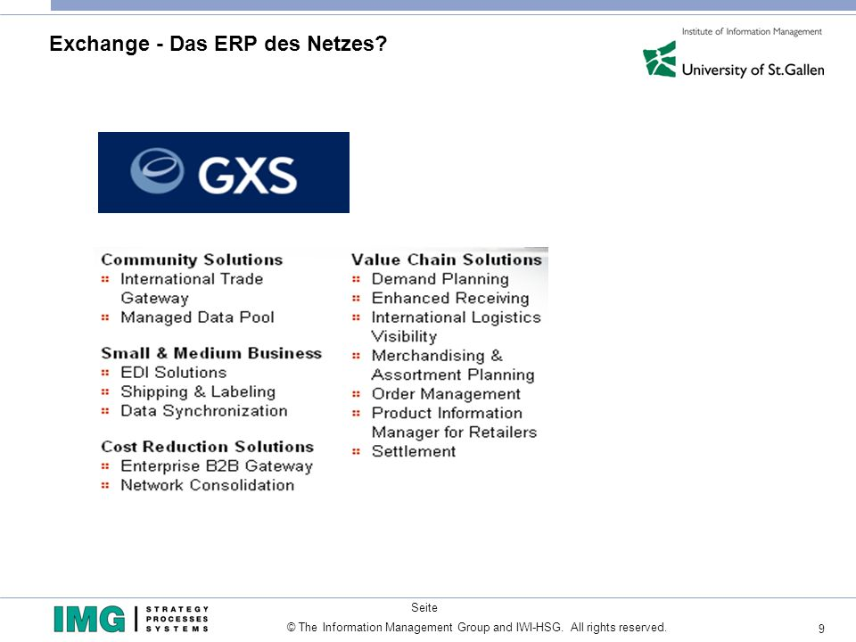 9 © The Information Management Group and IWI-HSG. All rights reserved. Seite Exchange - Das ERP des Netzes?