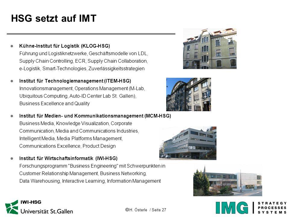 H. Österle / Seite 27 IWI-HSG HSG setzt auf IMT l Kühne-Institut für Logistik (KLOG-HSG) Führung und Logistiknetzwerke, Geschäftsmodelle von LDL, Supp
