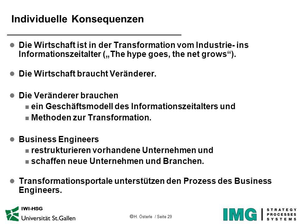 H. Österle / Seite 29 IWI-HSG Individuelle Konsequenzen l Die Wirtschaft ist in der Transformation vom Industrie- ins Informationszeitalter (The hype