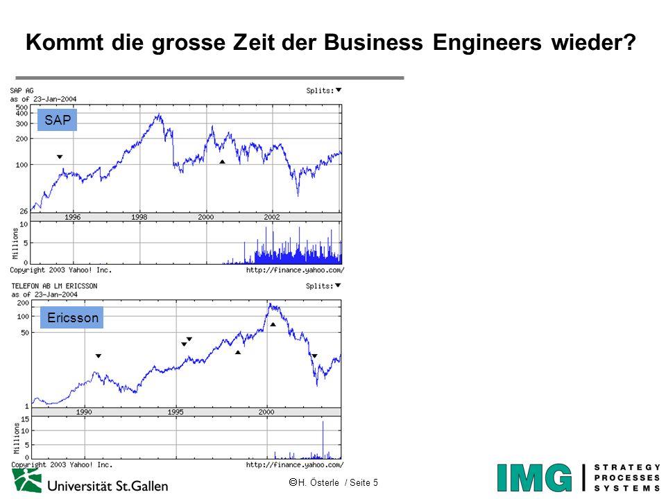 H. Österle / Seite 5 IWI-HSG Kommt die grosse Zeit der Business Engineers wieder? SAP Ericsson