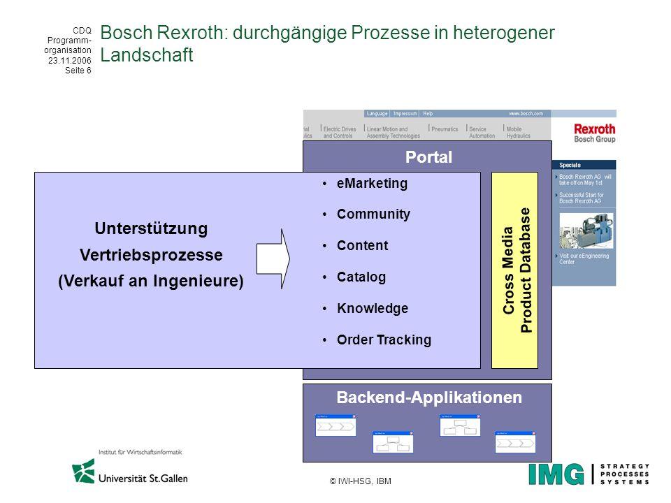 CDQ Programm- organisation 23.11.2006 Seite 6 © IWI-HSG, IBM Bosch Rexroth: durchgängige Prozesse in heterogener Landschaft Unterstützung Vertriebspro