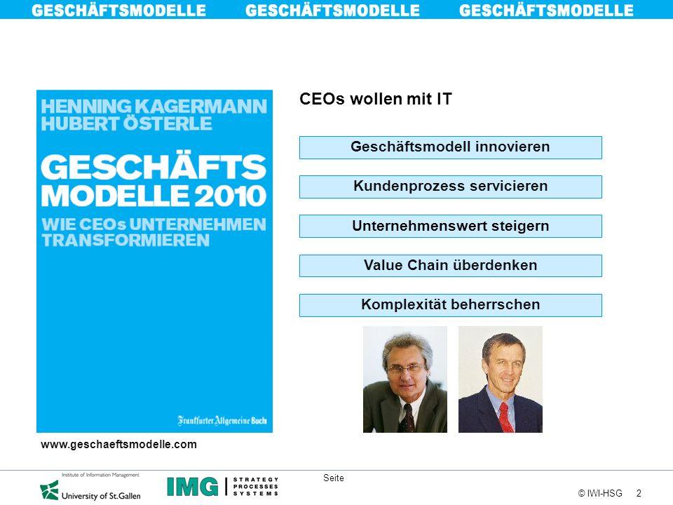 2 © IWI-HSG Seite CEOs wollen mit IT Kundenprozess servicieren Unternehmenswert steigern Geschäftsmodell innovieren Value Chain überdenken Komplexität
