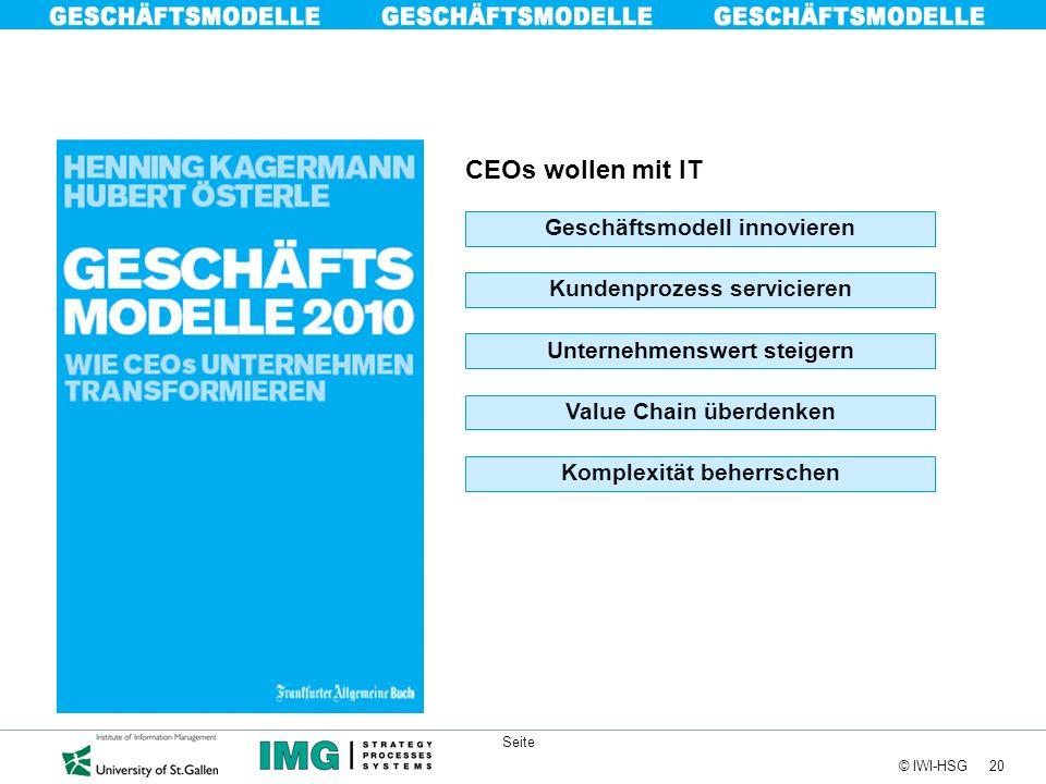 20 © IWI-HSG Seite CEOs wollen mit IT Kundenprozess servicieren Unternehmenswert steigern Geschäftsmodell innovieren Value Chain überdenken Komplexitä
