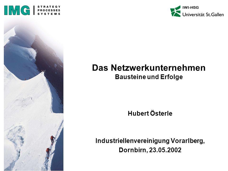 IWI-HSG Das Netzwerkunternehmen Bausteine und Erfolge Hubert Österle Industriellenvereinigung Vorarlberg, Dornbirn, 23.05.2002