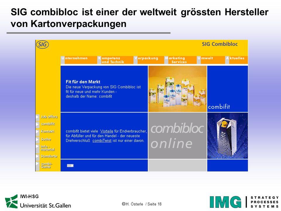 H. Österle / Seite 18 IWI-HSG SIG combibloc ist einer der weltweit grössten Hersteller von Kartonverpackungen