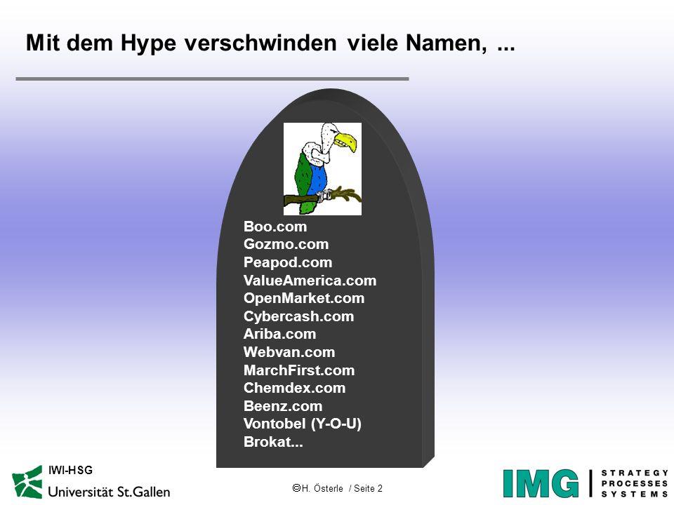 H. Österle / Seite 2 IWI-HSG Mit dem Hype verschwinden viele Namen,... Boo.com Gozmo.com Peapod.com ValueAmerica.com OpenMarket.com Cybercash.com Arib
