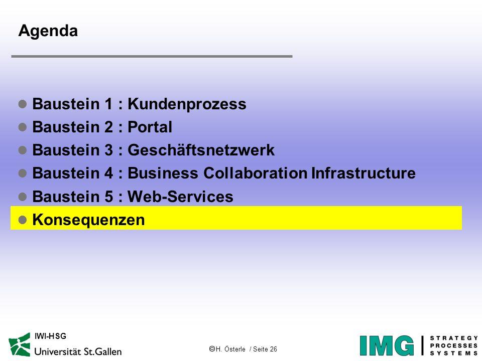 H. Österle / Seite 26 IWI-HSG Agenda l Baustein 1 : Kundenprozess l Baustein 2 : Portal l Baustein 3 : Geschäftsnetzwerk l Baustein 4 : Business Colla
