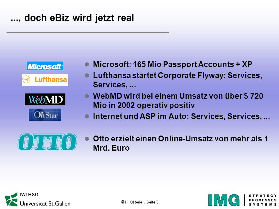 H. Österle / Seite 3 IWI-HSG l Microsoft: 165 Mio Passport Accounts + XP l Lufthansa startet Corporate Flyway: Services, Services,... l WebMD wird bei