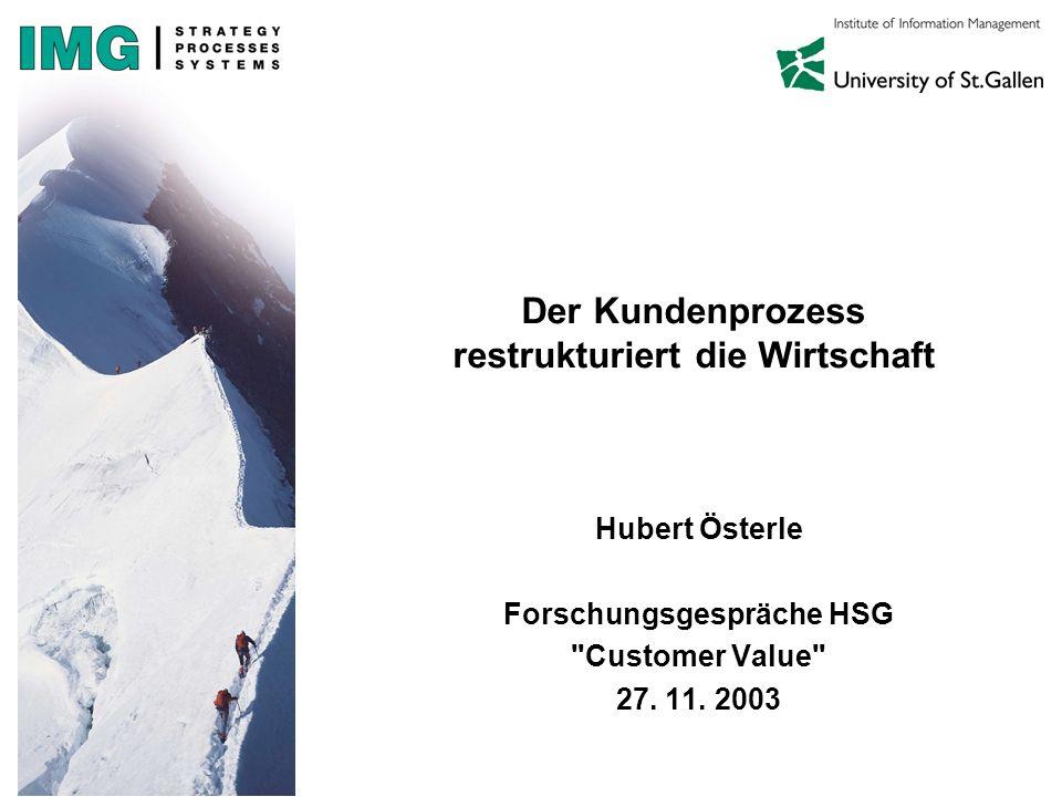 Der Kundenprozess restrukturiert die Wirtschaft Hubert Österle Forschungsgespräche HSG