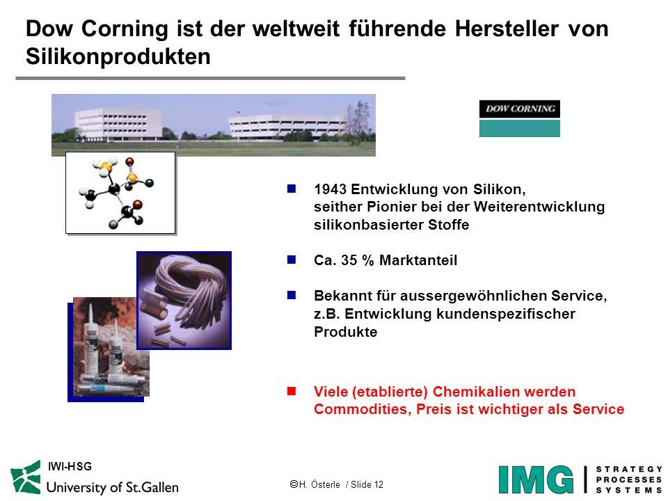 H. Österle / Slide 12 IWI-HSG Dow Corning ist der weltweit führende Hersteller von Silikonprodukten 1943 Entwicklung von Silikon, seither Pionier bei