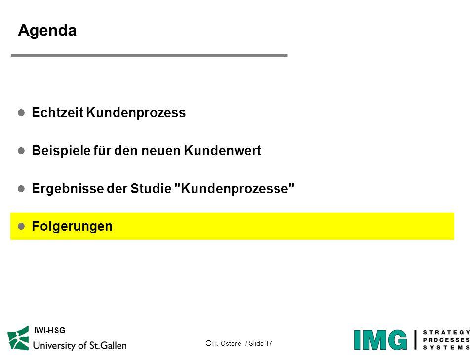 H. Österle / Slide 17 IWI-HSG Agenda l Echtzeit Kundenprozess l Beispiele für den neuen Kundenwert l Ergebnisse der Studie