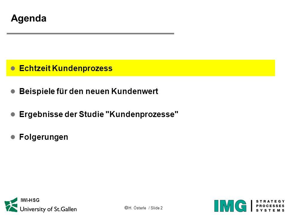 H. Österle / Slide 2 IWI-HSG Agenda l Echtzeit Kundenprozess l Beispiele für den neuen Kundenwert l Ergebnisse der Studie