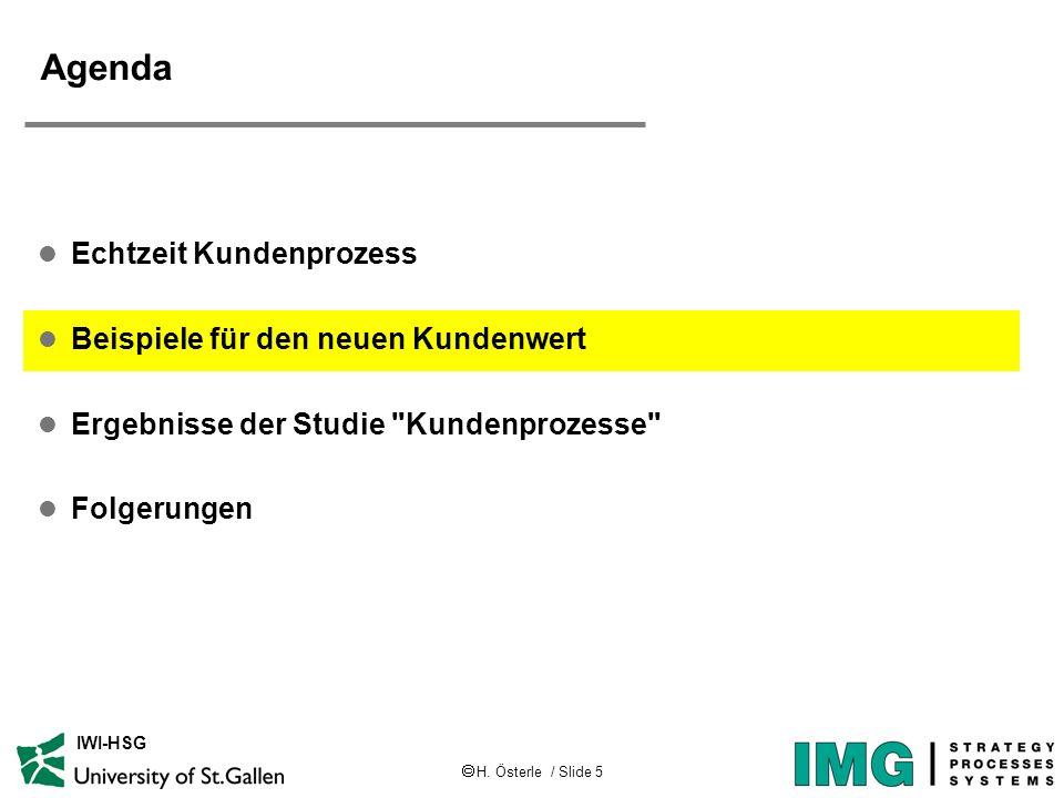 H. Österle / Slide 5 IWI-HSG Agenda l Echtzeit Kundenprozess l Beispiele für den neuen Kundenwert l Ergebnisse der Studie