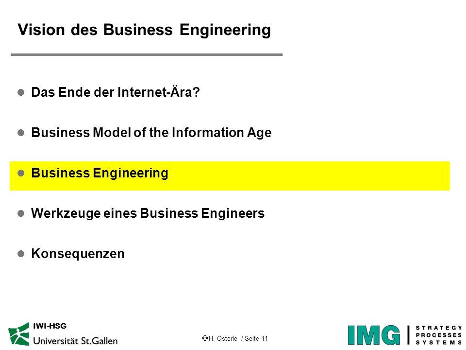 H. Österle / Seite 11 IWI-HSG Vision des Business Engineering l Das Ende der Internet-Ära? l Business Model of the Information Age l Business Engineer