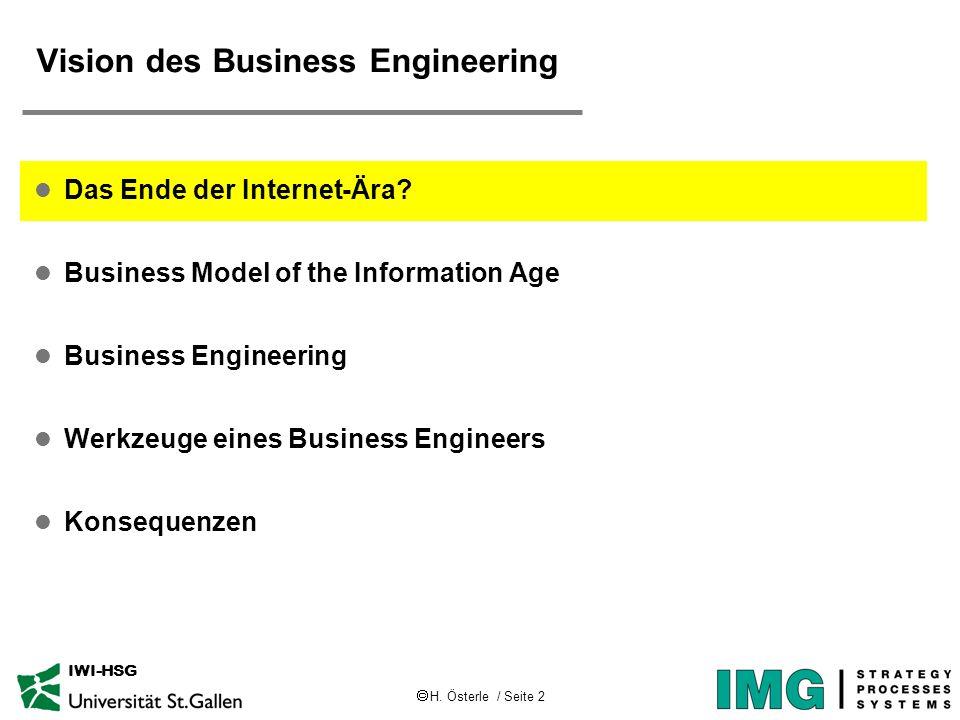 H. Österle / Seite 2 IWI-HSG Vision des Business Engineering l Das Ende der Internet-Ära? l Business Model of the Information Age l Business Engineeri