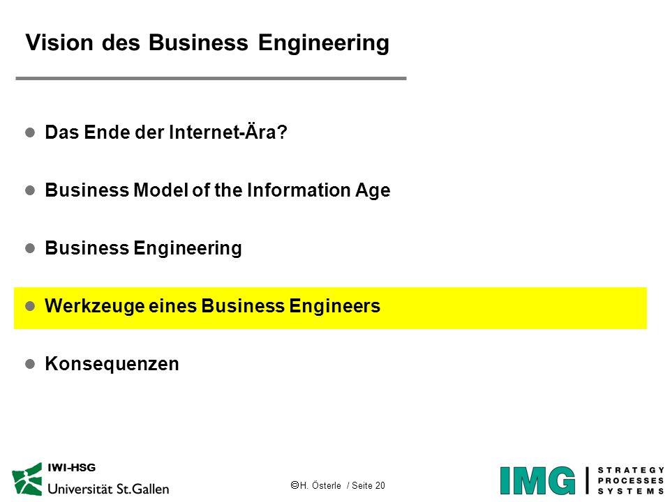 H. Österle / Seite 20 IWI-HSG Vision des Business Engineering l Das Ende der Internet-Ära? l Business Model of the Information Age l Business Engineer