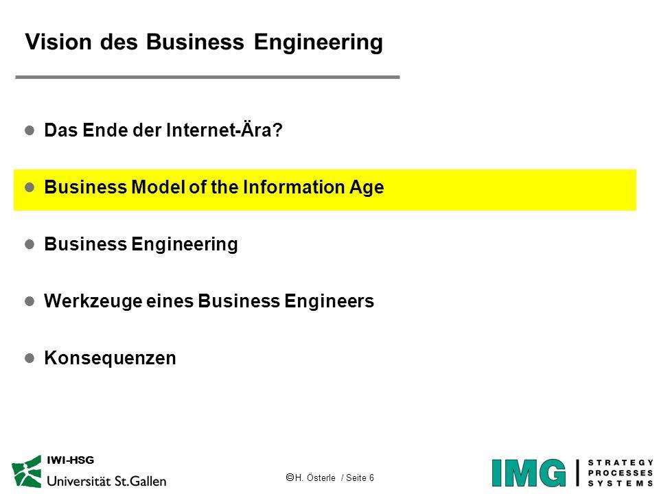 H. Österle / Seite 6 IWI-HSG Vision des Business Engineering l Das Ende der Internet-Ära? l Business Model of the Information Age l Business Engineeri