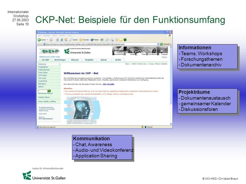 Internationaler Workshop 27.06.2003 Seite 10 © IWI-HSG / Christian Braun CKP-Net: Beispiele für den Funktionsumfang Informationen -Teams, Workshops -F