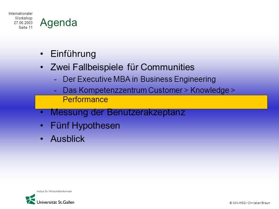 Internationaler Workshop 27.06.2003 Seite 11 © IWI-HSG / Christian Braun Agenda Einführung Zwei Fallbeispiele für Communities -Der Executive MBA in Bu