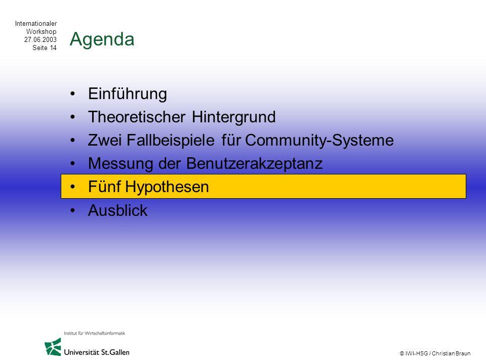 Internationaler Workshop 27.06.2003 Seite 14 © IWI-HSG / Christian Braun Agenda Einführung Theoretischer Hintergrund Zwei Fallbeispiele für Community-