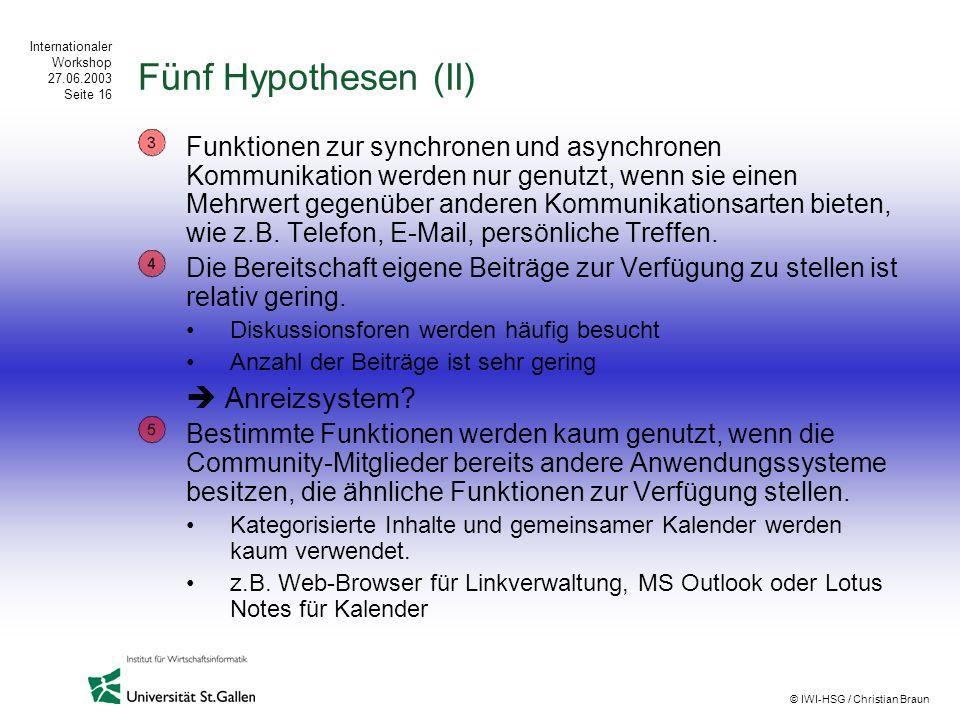 Internationaler Workshop 27.06.2003 Seite 16 © IWI-HSG / Christian Braun Fünf Hypothesen (II) Funktionen zur synchronen und asynchronen Kommunikation
