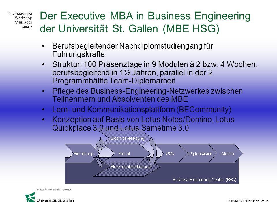 Internationaler Workshop 27.06.2003 Seite 5 © IWI-HSG / Christian Braun Der Executive MBA in Business Engineering der Universität St. Gallen (MBE HSG)