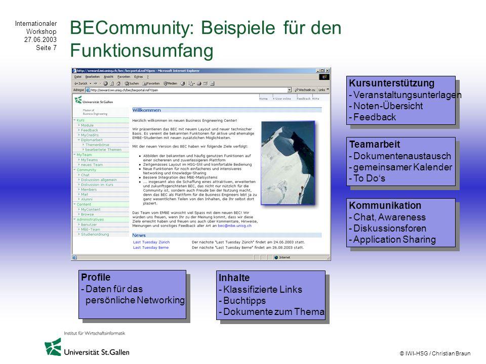 Internationaler Workshop 27.06.2003 Seite 7 © IWI-HSG / Christian Braun BECommunity: Beispiele für den Funktionsumfang Kursunterstützung -Veranstaltun