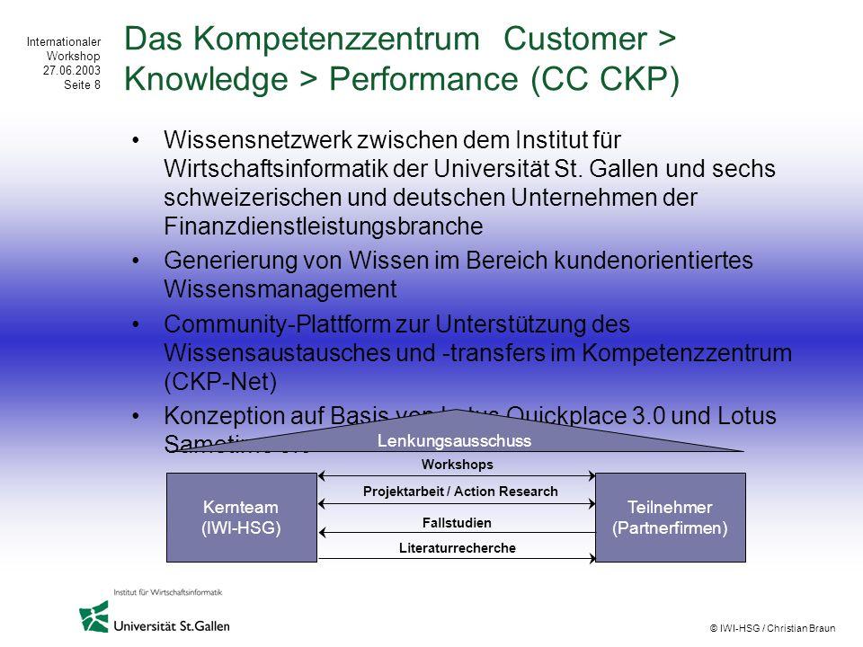 Internationaler Workshop 27.06.2003 Seite 8 © IWI-HSG / Christian Braun Das Kompetenzzentrum Customer > Knowledge > Performance (CC CKP) Wissensnetzwe
