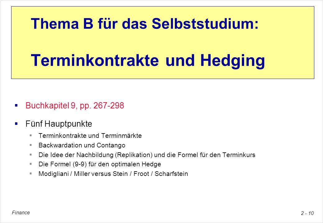 Finance 2 - 10 Thema B für das Selbststudium: Terminkontrakte und Hedging Buchkapitel 9, pp. 267-298 Fünf Hauptpunkte Terminkontrakte und Terminmärkte