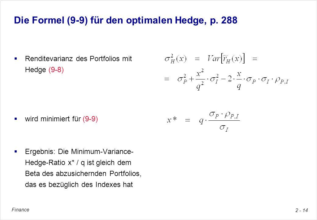 Finance 2 - 14 Die Formel (9-9) für den optimalen Hedge, p. 288 Renditevarianz des Portfolios mit Hedge (9-8) wird minimiert für (9-9) Ergebnis: Die M