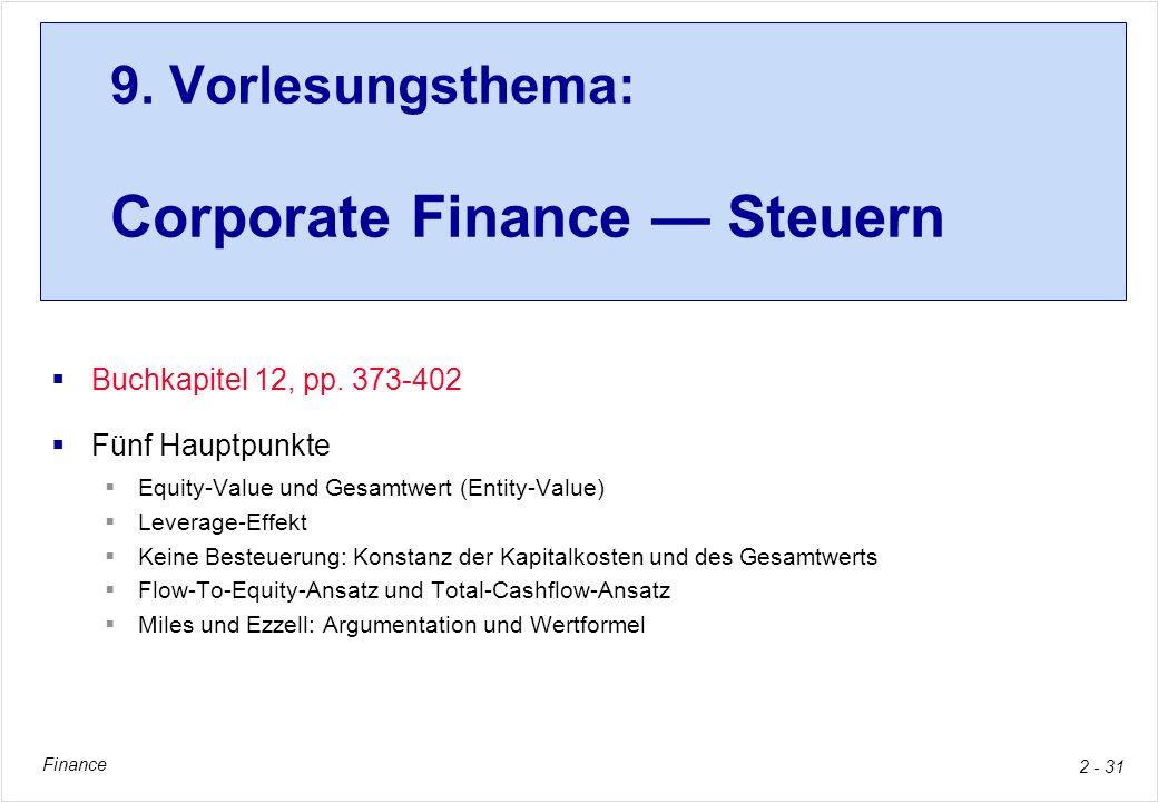 Finance 2 - 31 9. Vorlesungsthema: Corporate Finance Steuern Buchkapitel 12, pp. 373-402 Fünf Hauptpunkte Equity-Value und Gesamtwert (Entity-Value) L