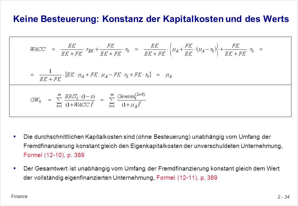 Finance 2 - 34 Keine Besteuerung: Konstanz der Kapitalkosten und des Werts Die durchschnittlichen Kapitalkosten sind (ohne Besteuerung) unabhängig vom