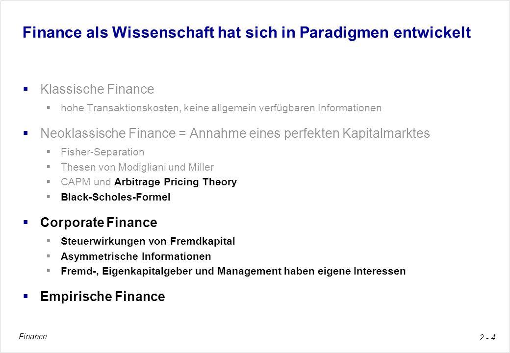 Finance 2 - 4 Finance als Wissenschaft hat sich in Paradigmen entwickelt Klassische Finance hohe Transaktionskosten, keine allgemein verfügbaren Infor