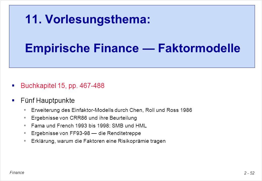 Finance 2 - 52 11. Vorlesungsthema: Empirische Finance Faktormodelle Buchkapitel 15, pp. 467-488 Fünf Hauptpunkte Erweiterung des Einfaktor-Modells du