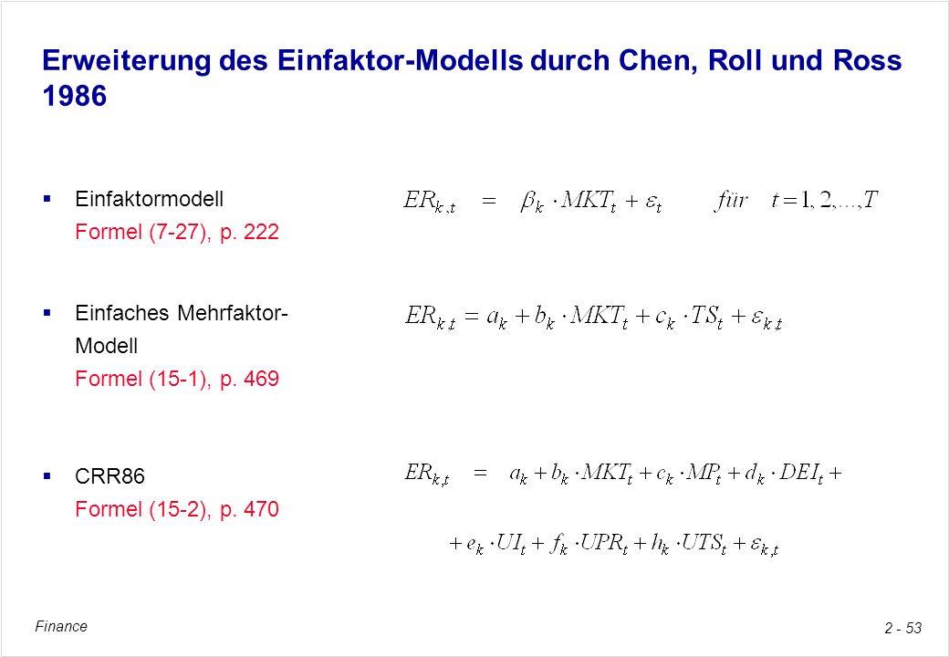 Finance 2 - 53 Erweiterung des Einfaktor-Modells durch Chen, Roll und Ross 1986 Einfaktormodell Formel (7-27), p. 222 Einfaches Mehrfaktor- Modell For