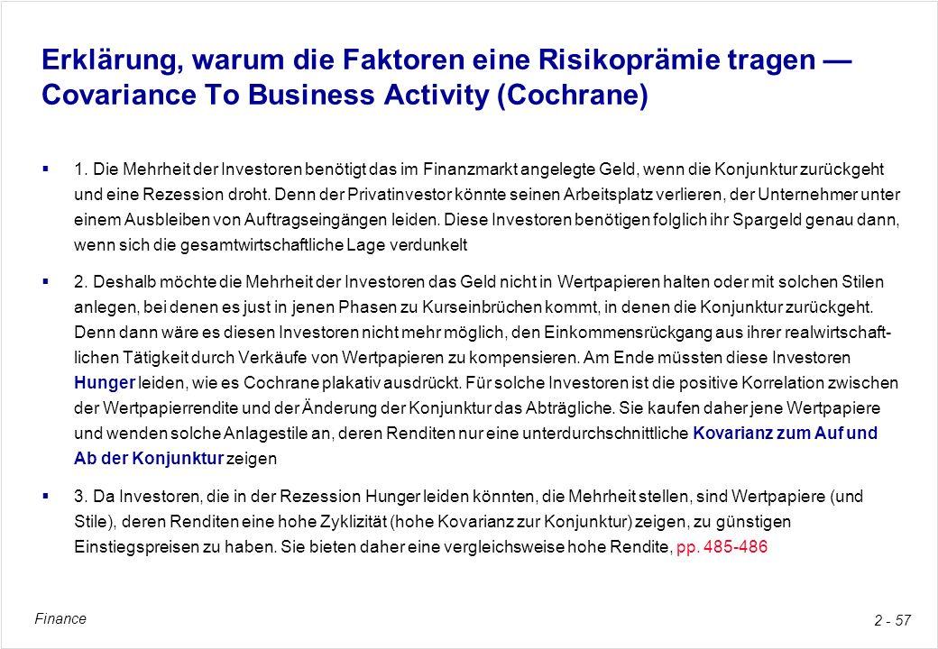 Finance 2 - 57 Erklärung, warum die Faktoren eine Risikoprämie tragen Covariance To Business Activity (Cochrane) 1. Die Mehrheit der Investoren benöti
