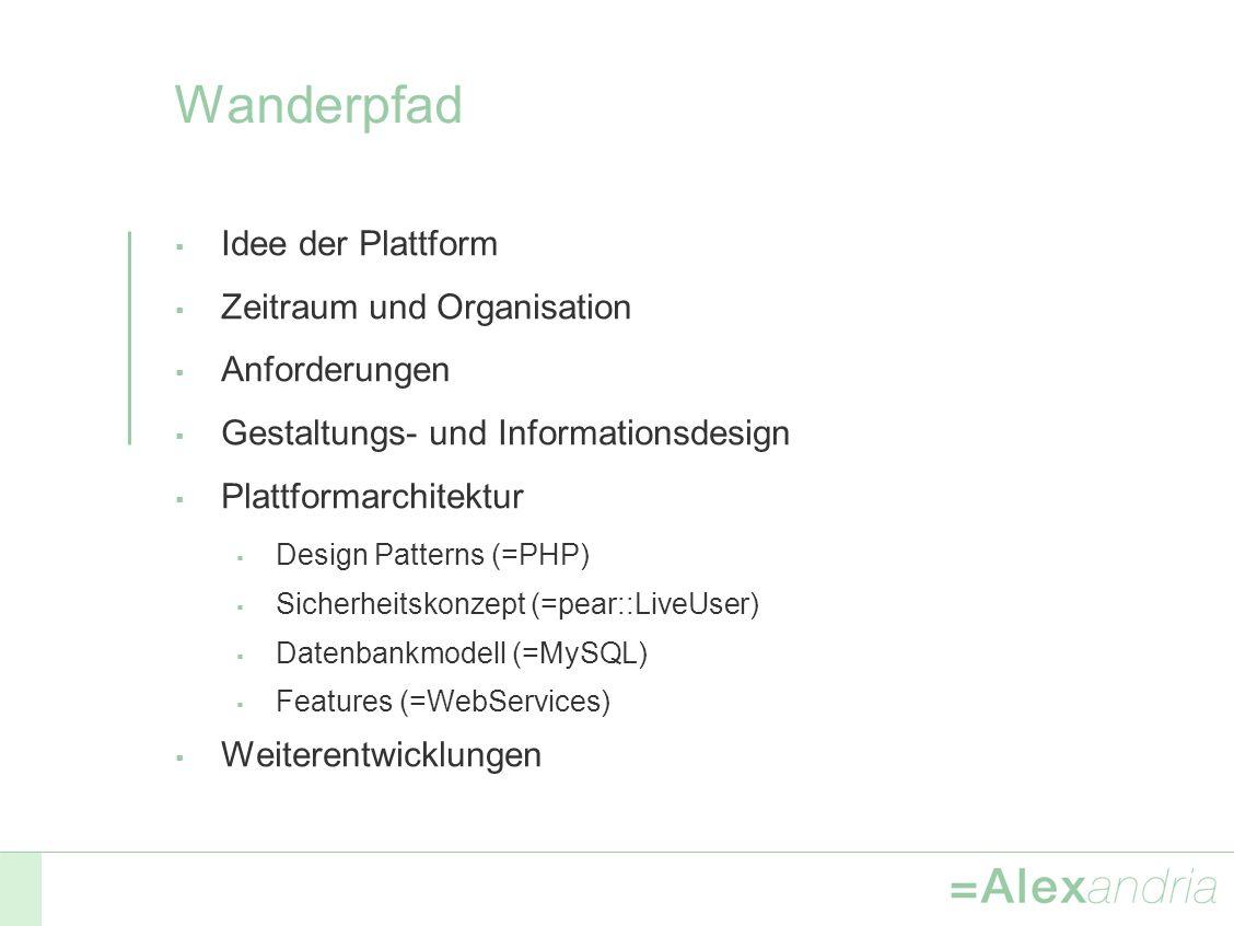 Wanderpfad Idee der Plattform Zeitraum und Organisation Anforderungen Gestaltungs- und Informationsdesign Plattformarchitektur Design Patterns (=PHP) Sicherheitskonzept (=pear::LiveUser) Datenbankmodell (=MySQL) Features (=WebServices) Weiterentwicklungen