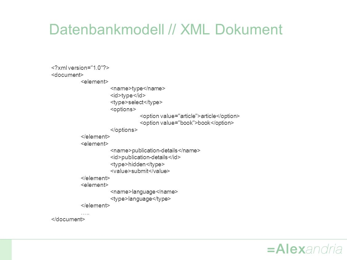 Datenbankmodell // XML Dokument type select article book publication-details hidden submit language …..