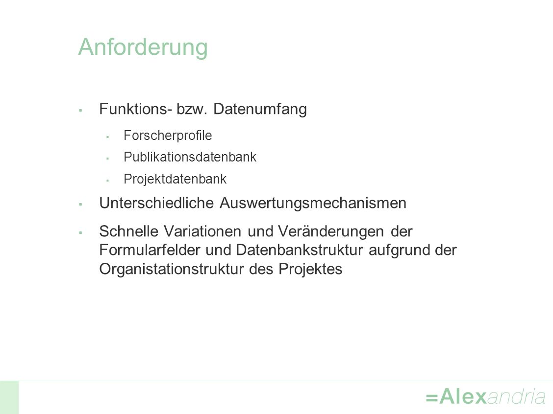 Anforderung Funktions- bzw.