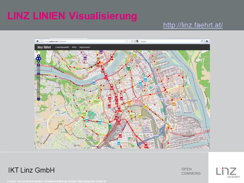 IKT Linz GmbH LINZ LINIEN Visualisierung http://linz.faehrt.at/ Credits: Screenshot linzlinien: urheberrechtlich geschützt: http://www.linz.faehrt.at