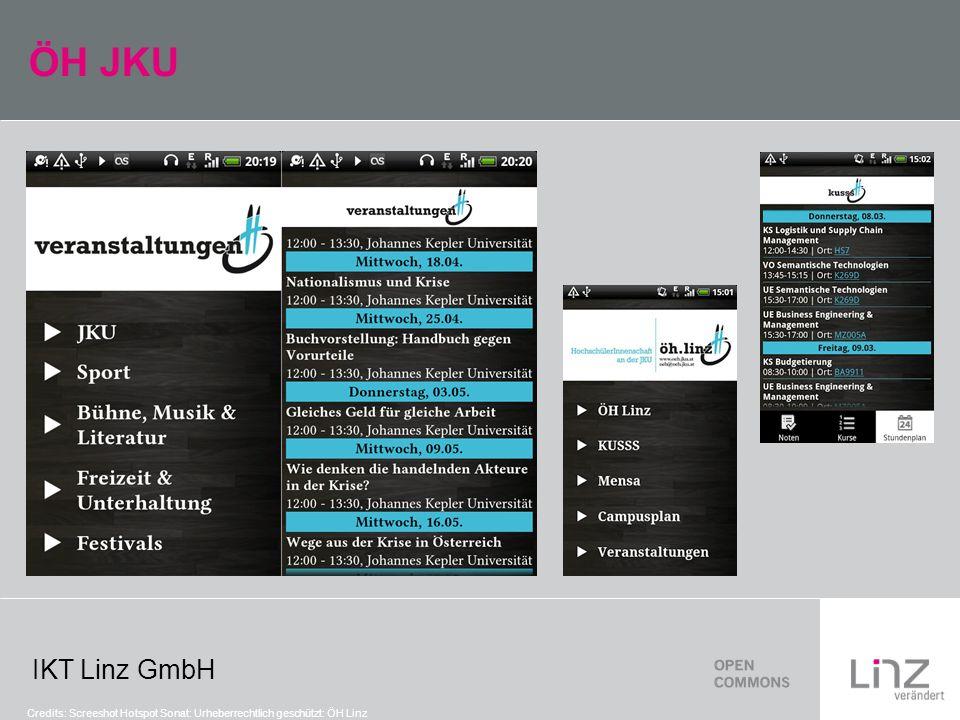 IKT Linz GmbH ÖH JKU Credits: Screeshot Hotspot Sonat: Urheberrechtlich geschützt: ÖH Linz