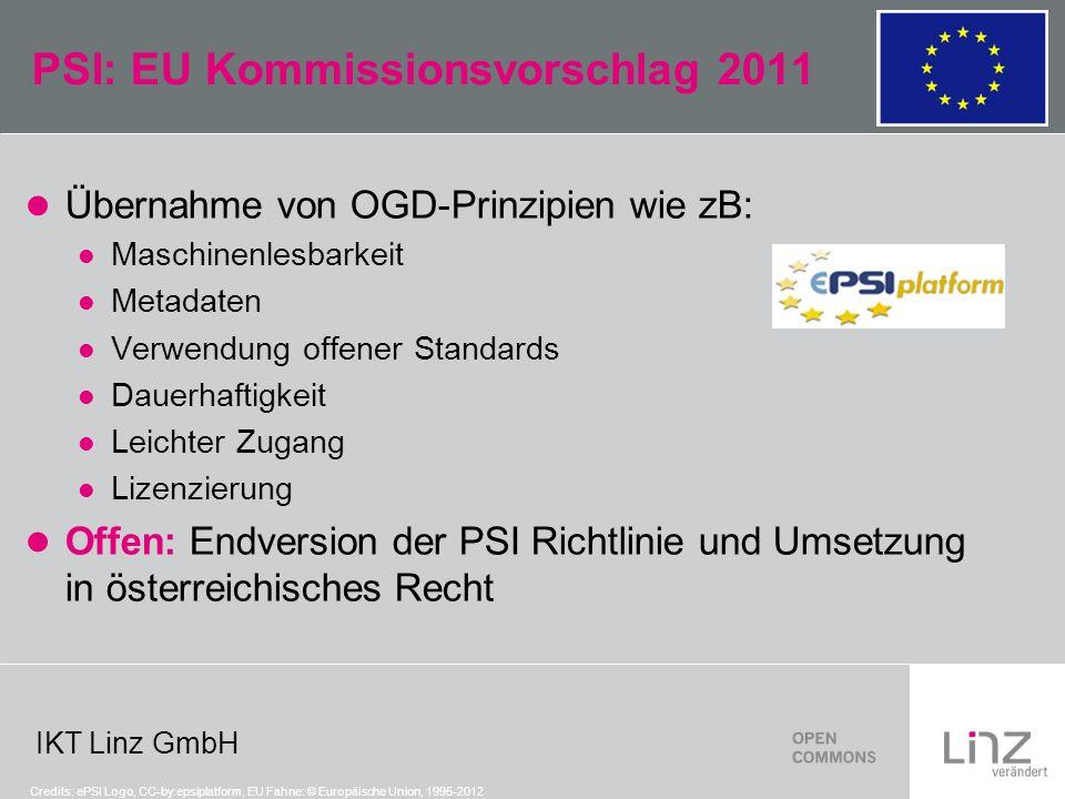 IKT Linz GmbH PSI: EU Kommissionsvorschlag 2011 Übernahme von OGD-Prinzipien wie zB: Maschinenlesbarkeit Metadaten Verwendung offener Standards Dauerh