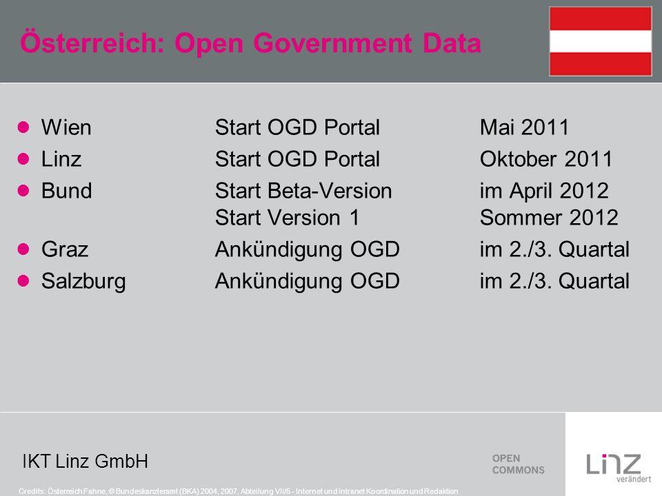 IKT Linz GmbH Österreich: Open Government Data WienStart OGD PortalMai 2011 LinzStart OGD PortalOktober 2011 BundStart Beta-Versionim April 2012 Start