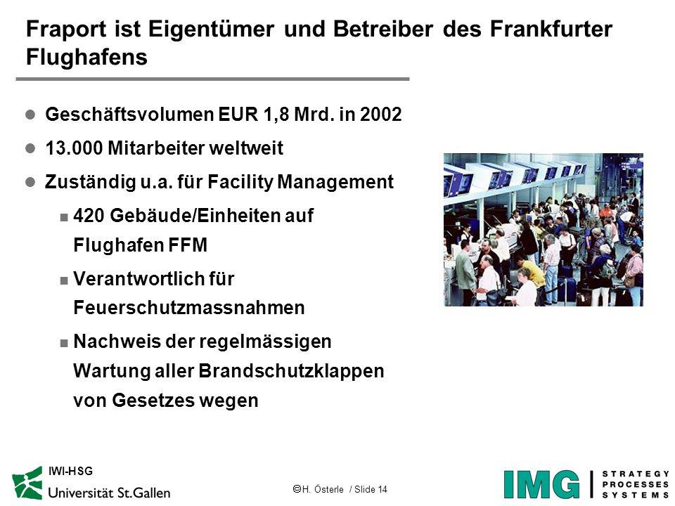 H. Österle / Slide 14 IWI-HSG Fraport ist Eigentümer und Betreiber des Frankfurter Flughafens l Geschäftsvolumen EUR 1,8 Mrd. in 2002 l 13.000 Mitarbe