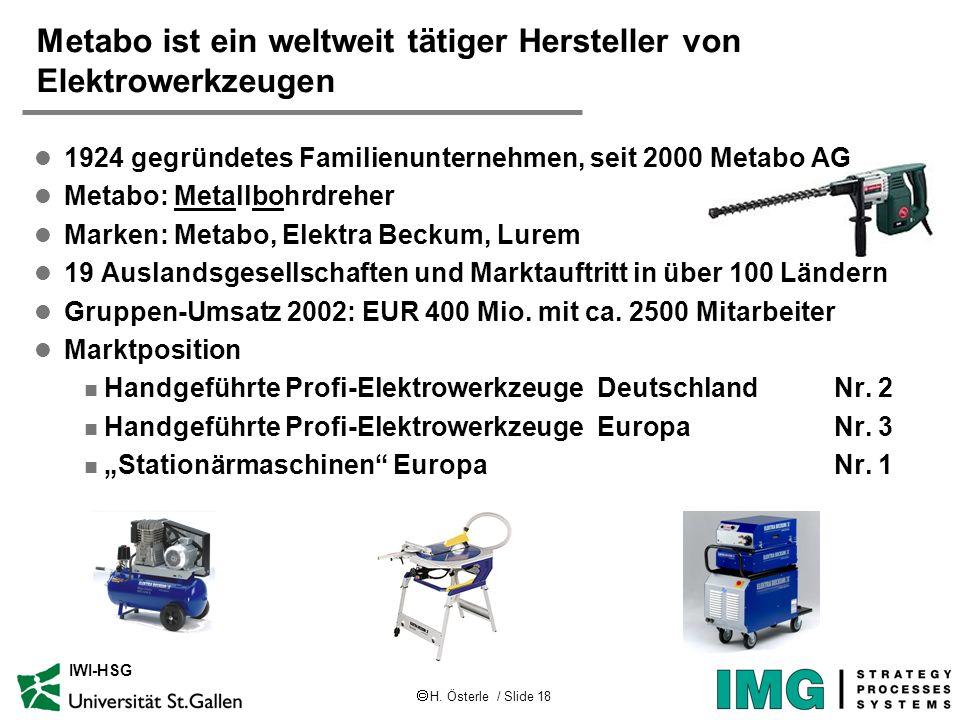 H. Österle / Slide 18 IWI-HSG Metabo ist ein weltweit tätiger Hersteller von Elektrowerkzeugen l 1924 gegründetes Familienunternehmen, seit 2000 Metab