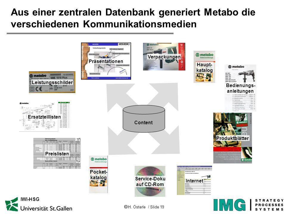 H. Österle / Slide 19 IWI-HSG Aus einer zentralen Datenbank generiert Metabo die verschiedenen Kommunikationsmedien Präsentationen Leistungsschilder V