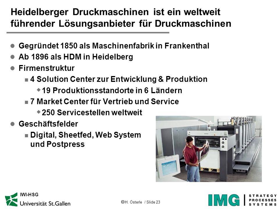 H. Österle / Slide 23 IWI-HSG Heidelberger Druckmaschinen ist ein weltweit führender Lösungsanbieter für Druckmaschinen l Gegründet 1850 als Maschinen
